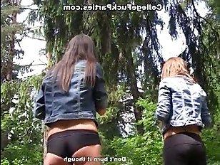 Пацан и две пьяные девки - секс на пикнике втроем